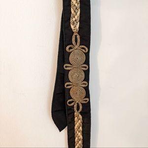 Vintage gold and black tie belt